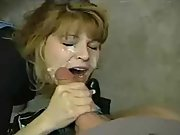 Light-haired mummy big jizz-shotgun deep-throat and creamy jism facial