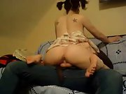 Pig tailed girlfriend takes care of her naughty man